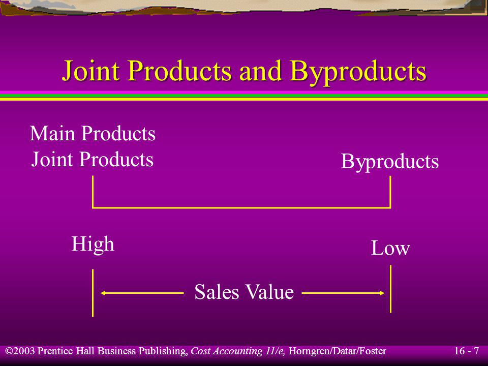 16 - 7 ©2003 Prentice Hall Business Publishing, Cost Accounting 11/e, Horngren/Datar/Foster Joint Products and Byproducts Sales Value High Low Main Pr