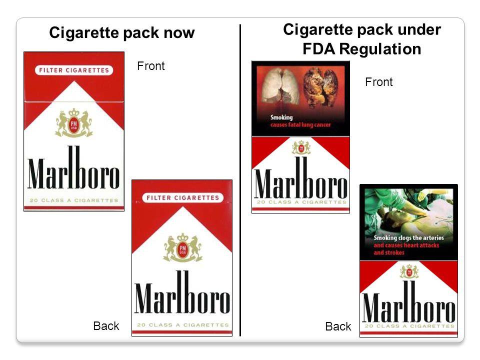 Cigarette pack now Cigarette pack under FDA Regulation Front Back Front Back WARNING LABEL WARNING LABEL