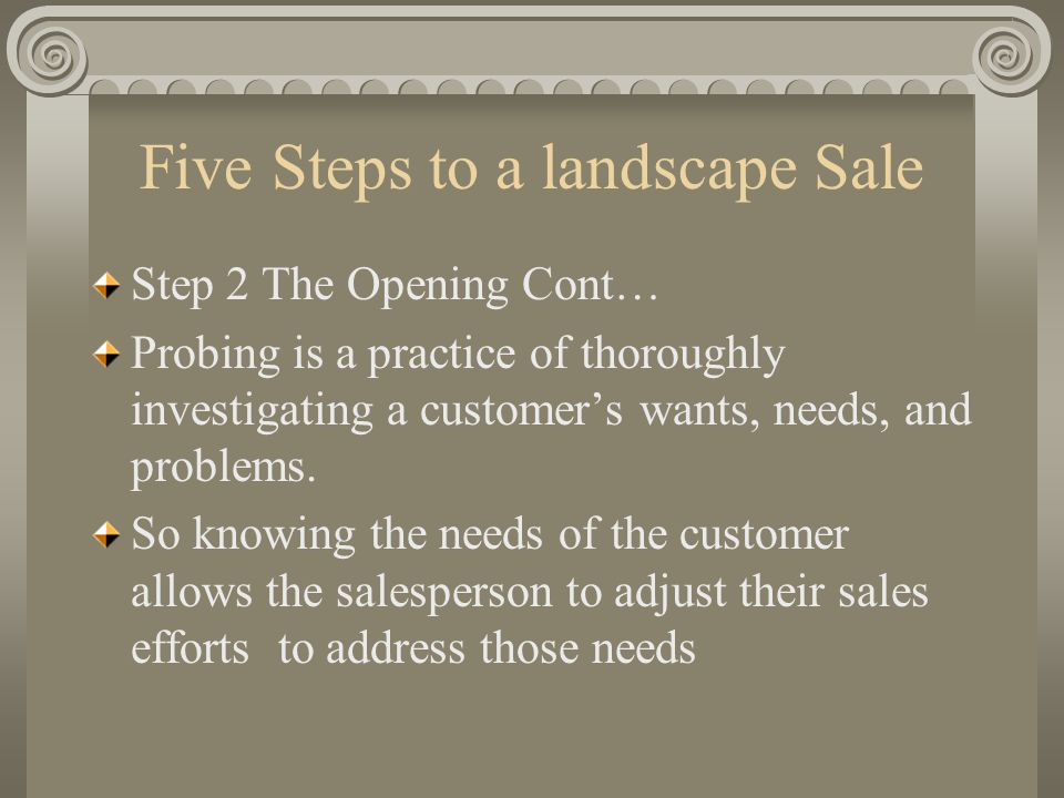 Five Steps to a landscape Sale Step 2 The Opening Cont… Probing is a practice of thoroughly investigating a customers wants, needs, and problems. So k