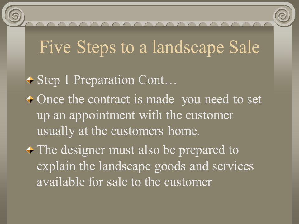 Five Steps to a landscape Sale Step 1 Preparation Cont..