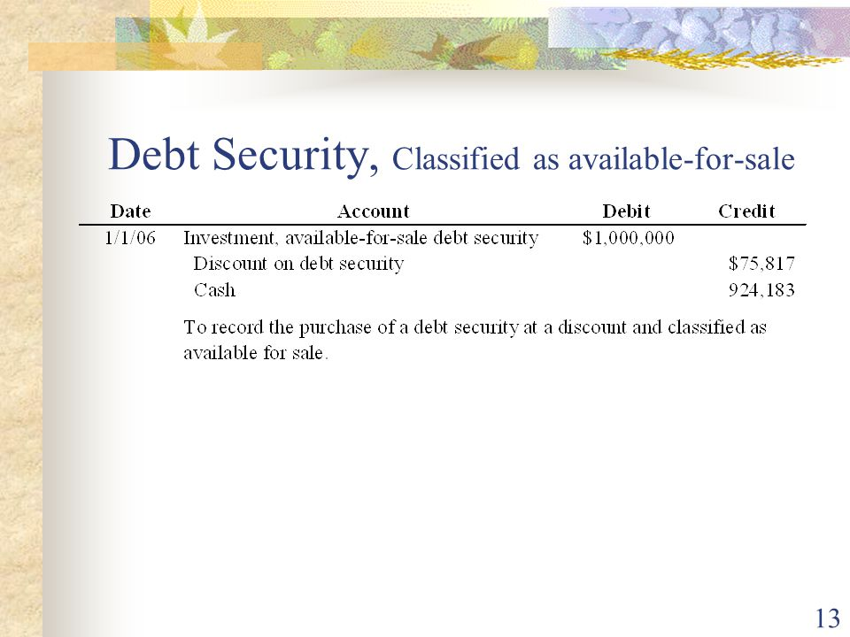 13 Debt Security, Classified as available-for-sale