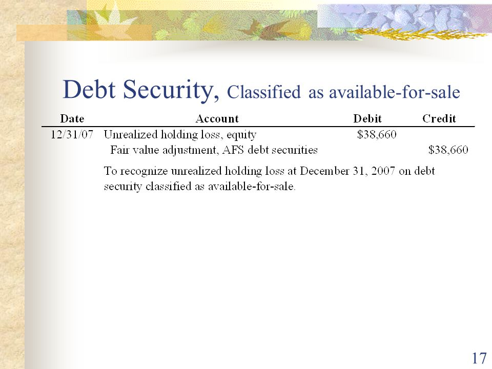 17 Debt Security, Classified as available-for-sale