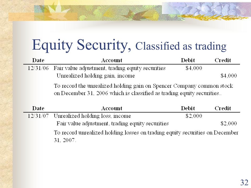 32 Equity Security, Classified as trading