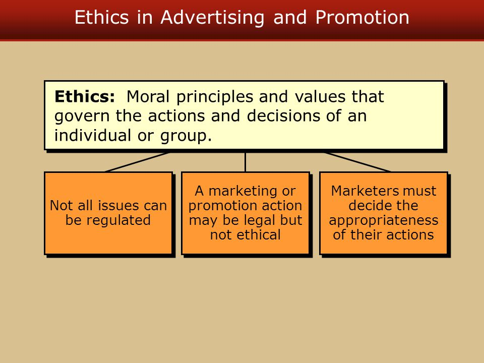 Ethics in Advertising and Promotion Not all issues can be regulated A marketing or promotion action may be legal but not ethical Marketers must decide