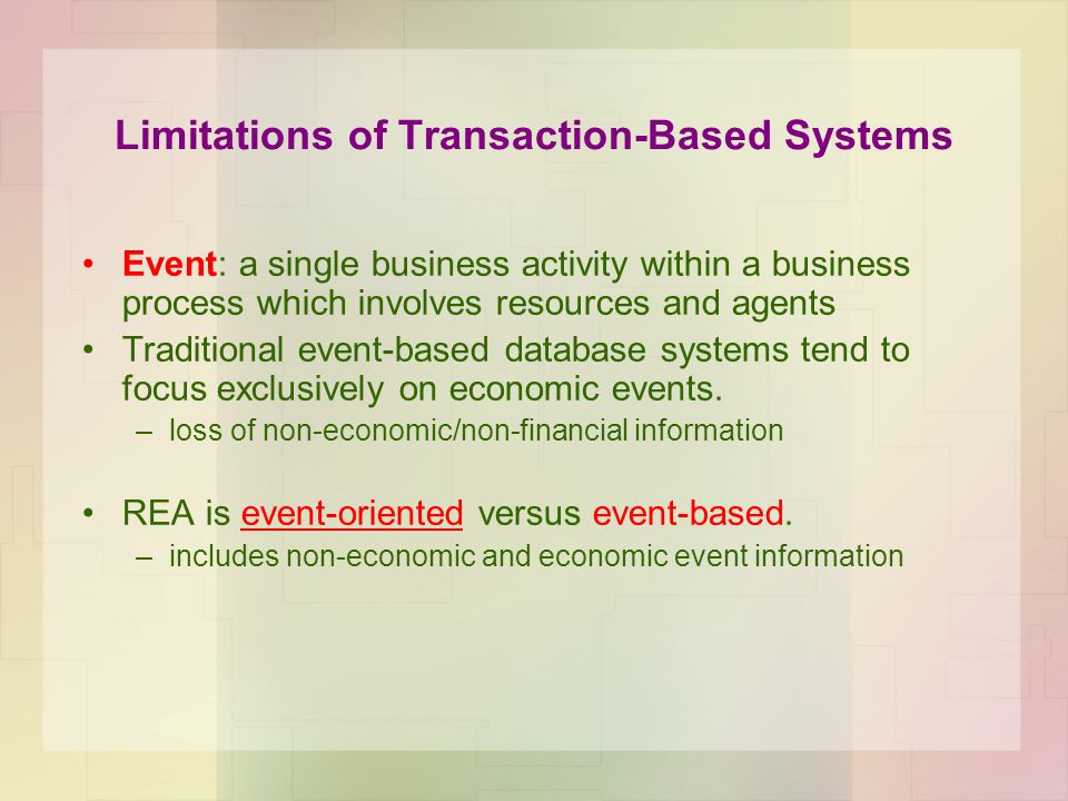 Limitations of Transaction-Based Systems Event: a single business activity within a business process which involves resources and agents Traditional e