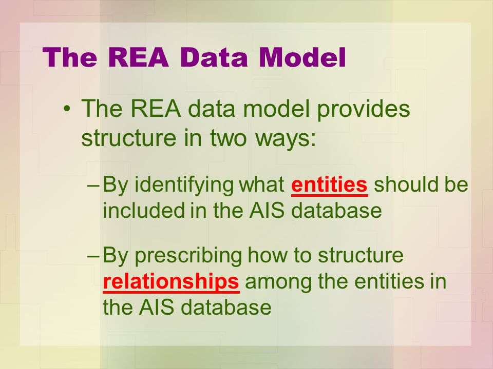 The REA Data Model The REA data model provides structure in two ways: –By identifying what entities should be included in the AIS database –By prescri