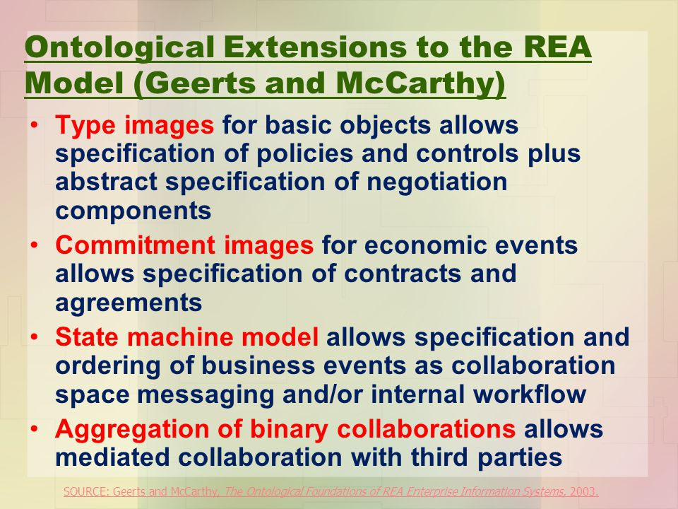 Ontological Extensions to the REA Model (Geerts and McCarthy) Type images for basic objects allows specification of policies and controls plus abstrac