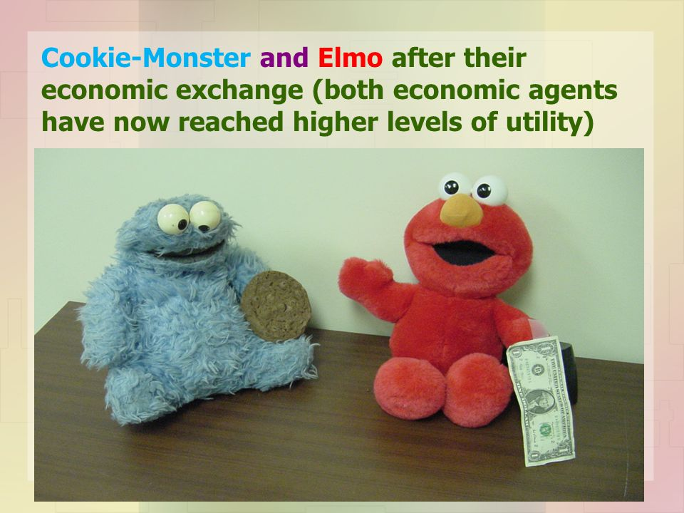 Cookie-Monster and Elmo after their economic exchange (both economic agents have now reached higher levels of utility)