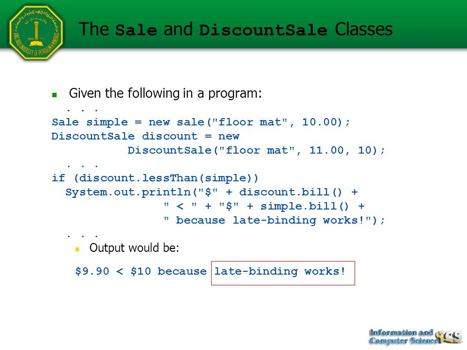 Given the following in a program:... Sale simple = new sale(