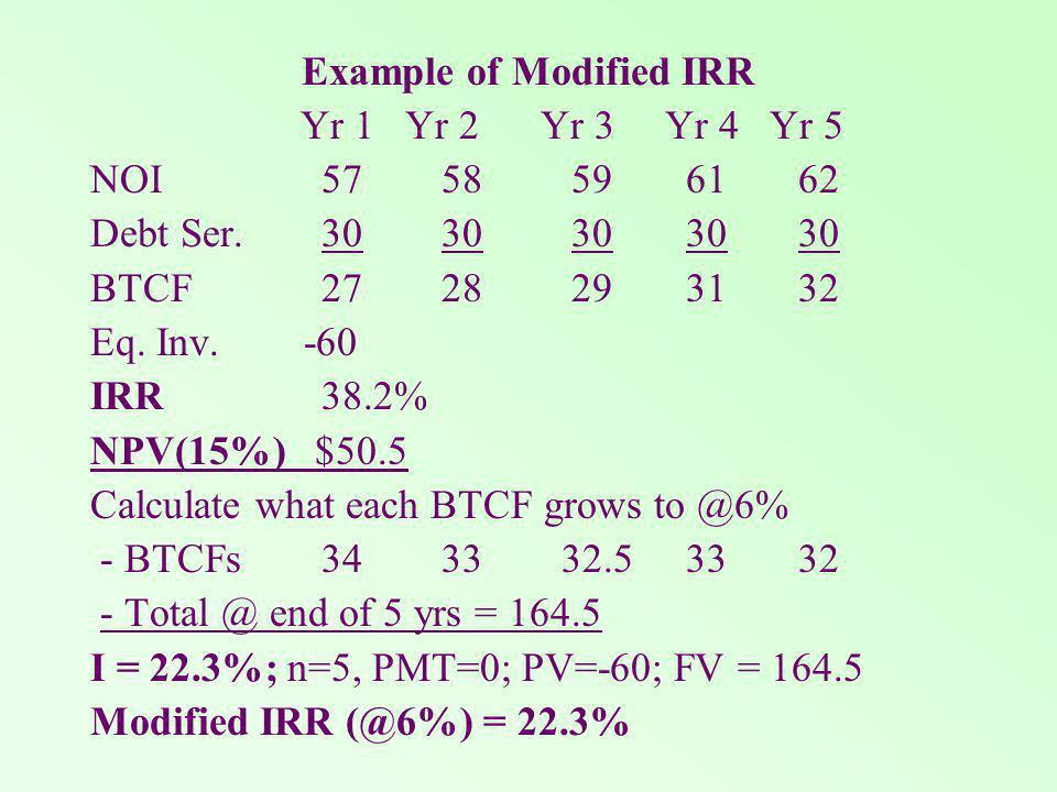 Example of Modified IRR Yr 1 Yr 2 Yr 3 Yr 4 Yr 5 NOI 57 58 59 61 62 Debt Ser.