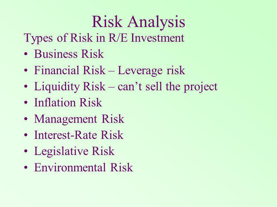 Risk Analysis Types of Risk in R/E Investment Business Risk Financial Risk – Leverage risk Liquidity Risk – cant sell the project Inflation Risk Management Risk Interest-Rate Risk Legislative Risk Environmental Risk