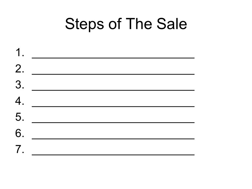 Steps of The Sale 1.__________________________ 2.__________________________ 3.__________________________ 4.__________________________ 5.__________________________ 6.__________________________ 7.__________________________