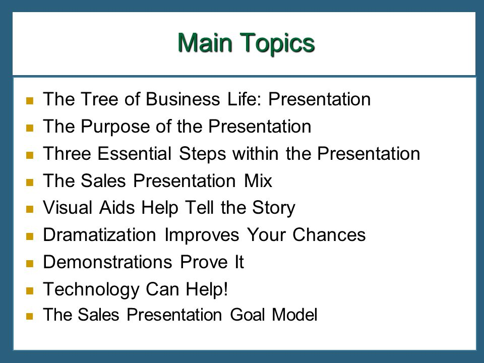 Main Topics The Tree of Business Life: Presentation The Purpose of the Presentation Three Essential Steps within the Presentation The Sales Presentati