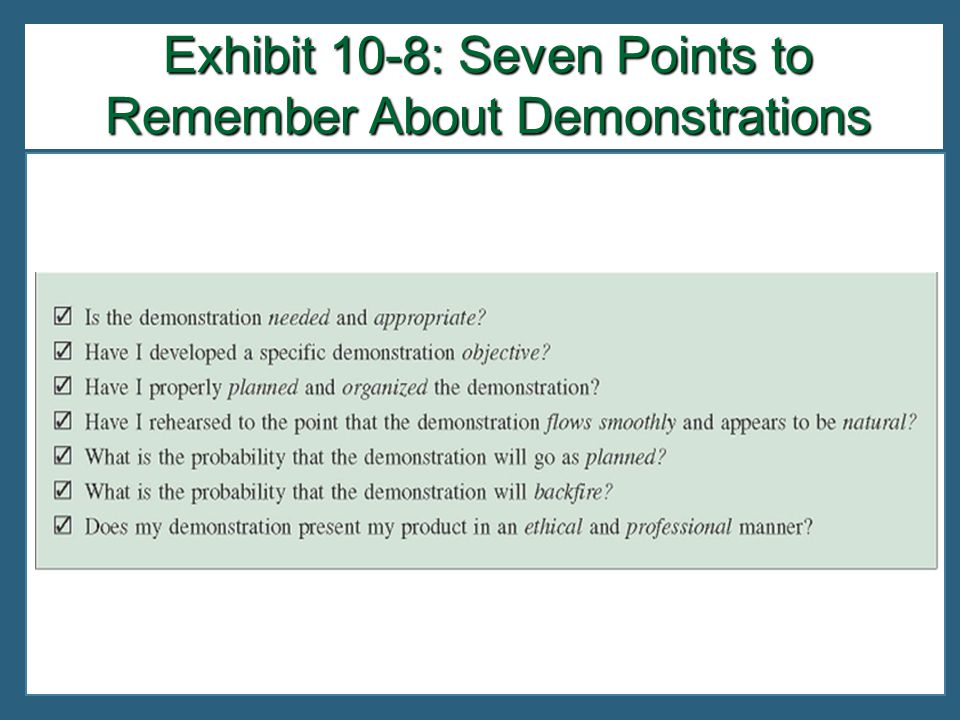 Exhibit 10-8: Seven Points to Remember About Demonstrations
