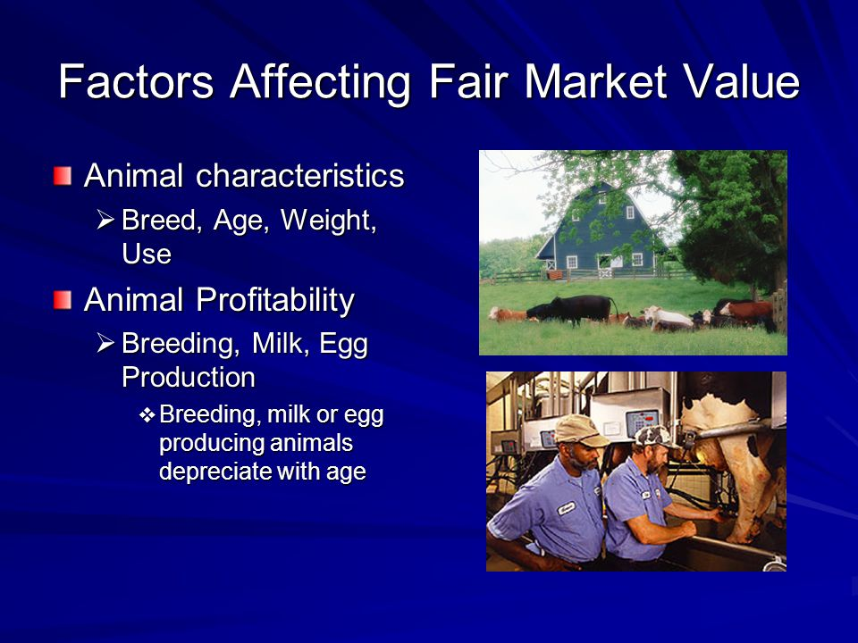 Factors Affecting Fair Market Value Animal characteristics Breed, Age, Weight, Use Breed, Age, Weight, Use Animal Profitability Breeding, Milk, Egg Production Breeding, Milk, Egg Production Breeding, milk or egg producing animals depreciate with age Breeding, milk or egg producing animals depreciate with age