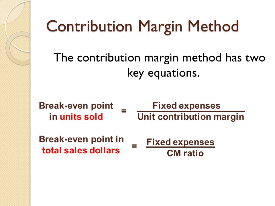 Contribution Margin Method The contribution margin method has two key equations. Fixed expenses Unit contribution margin = Break-even point in units s