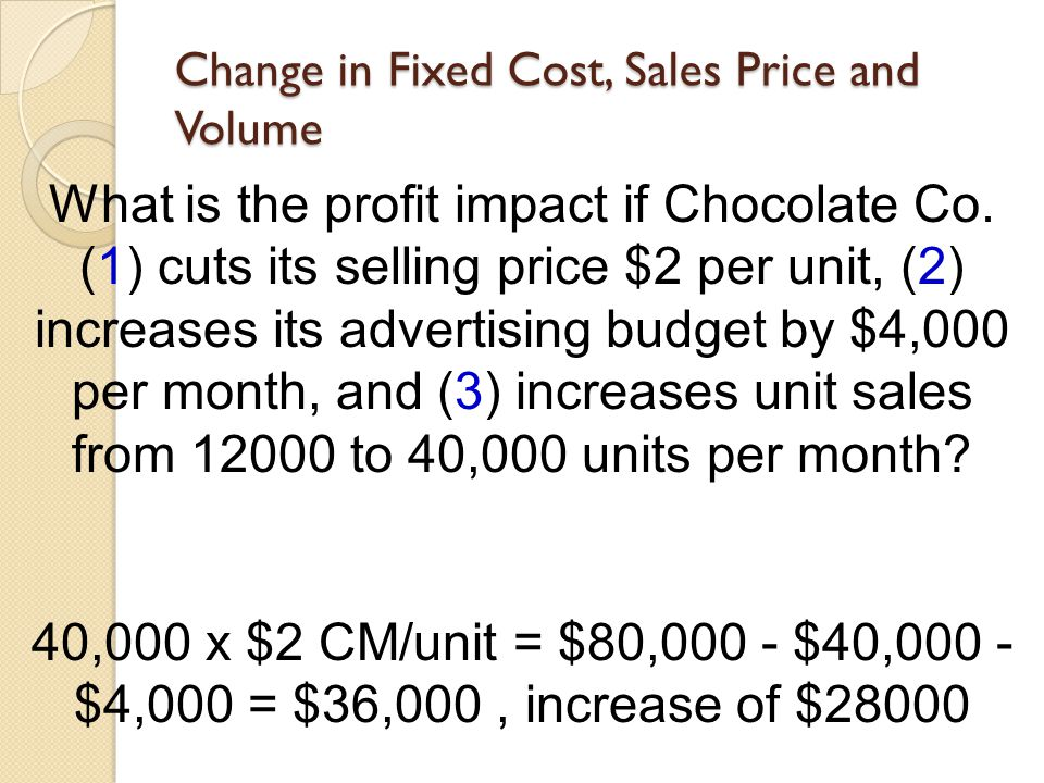 Change in Fixed Cost, Sales Price and Volume What is the profit impact if Chocolate Co. (1) cuts its selling price $2 per unit, (2) increases its adve