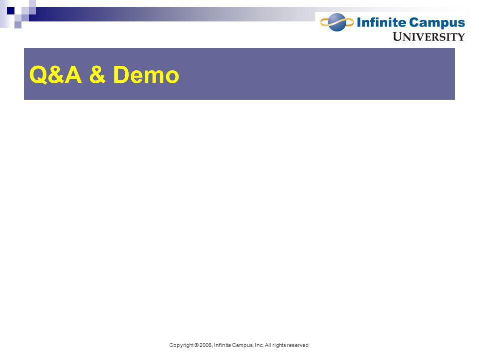 Copyright © 2006, Infinite Campus, Inc. All rights reserved. Q&A & Demo