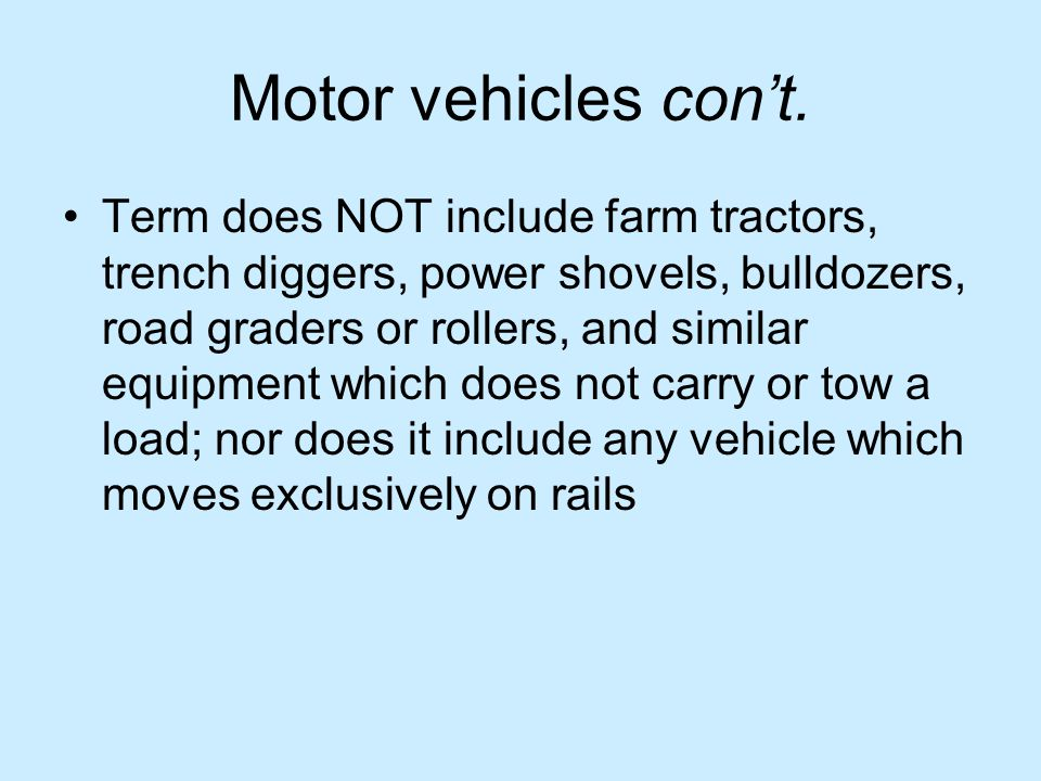 Motor vehicles cont.
