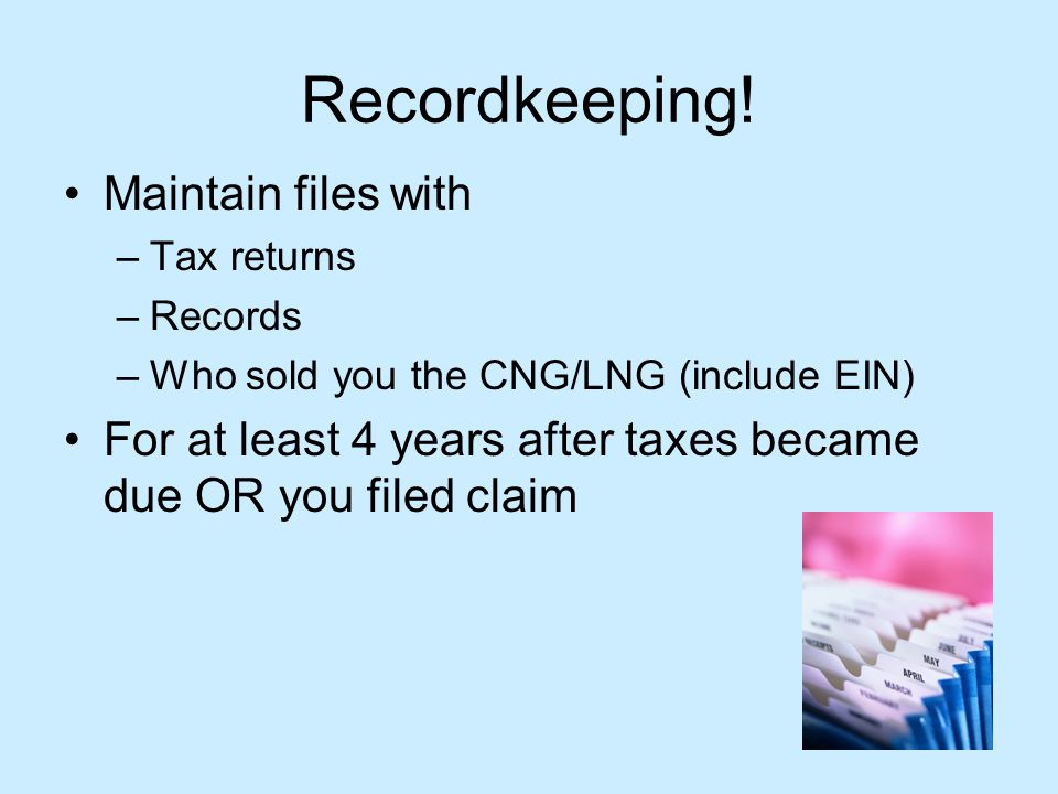 Recordkeeping.