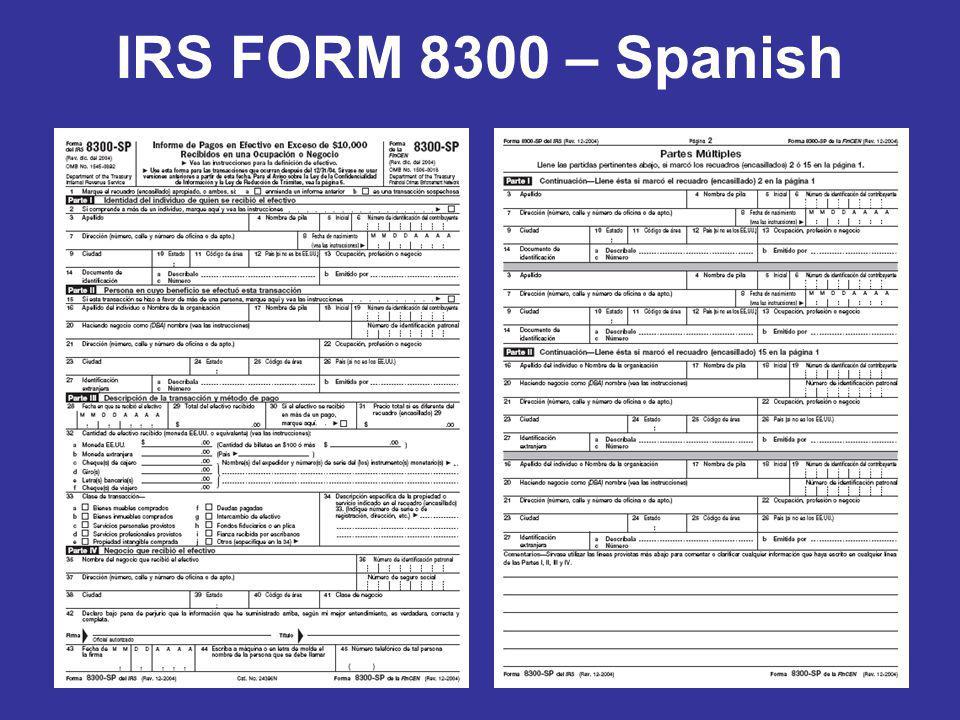 IRS FORM 8300 – Spanish
