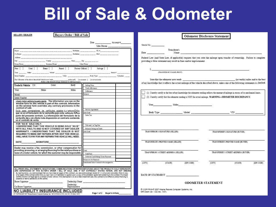 Bill of Sale & Odometer
