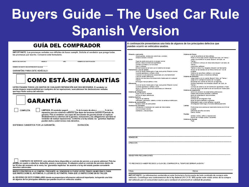 Buyers Guide – The Used Car Rule Spanish Version