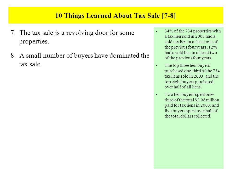 10 Things Learned About Tax Sale [7-8] 7. The tax sale is a revolving door for some properties.