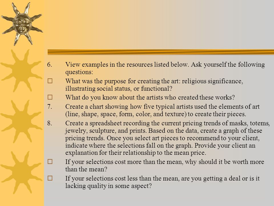 9.Select the 3 art pieces you recommend for your client.