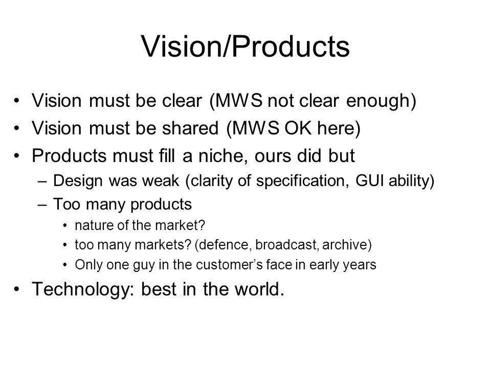 Vision/Products Vision must be clear (MWS not clear enough) Vision must be shared (MWS OK here) Products must fill a niche, ours did but –Design was weak (clarity of specification, GUI ability) –Too many products nature of the market.