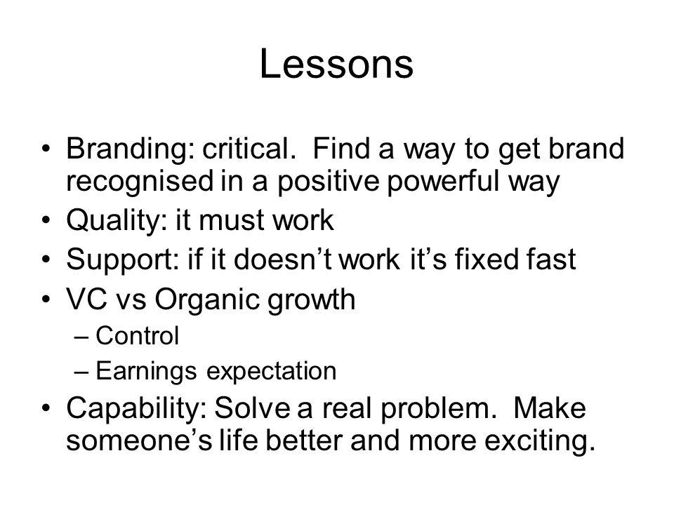Lessons Branding: critical.
