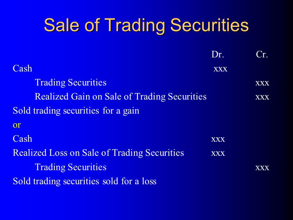 SecuritiesCostMarket ValueMV - Cost *AAA$140$170$30 *BBB375350(25) **CCC12015030 Mark-to-market journal entry on 12/31/99 for CCC: * Trading security ** Available-for-sale security Available-for-Sale Securities (CCC) (+A)30 Unrealized Loss on Available-for-Sale Securities (+SE)30 Available-for-Sale Securities (CCC) (+A)30 Unrealized Loss on Available-for-Sale Securities (+SE)30 Review Problem I (a)