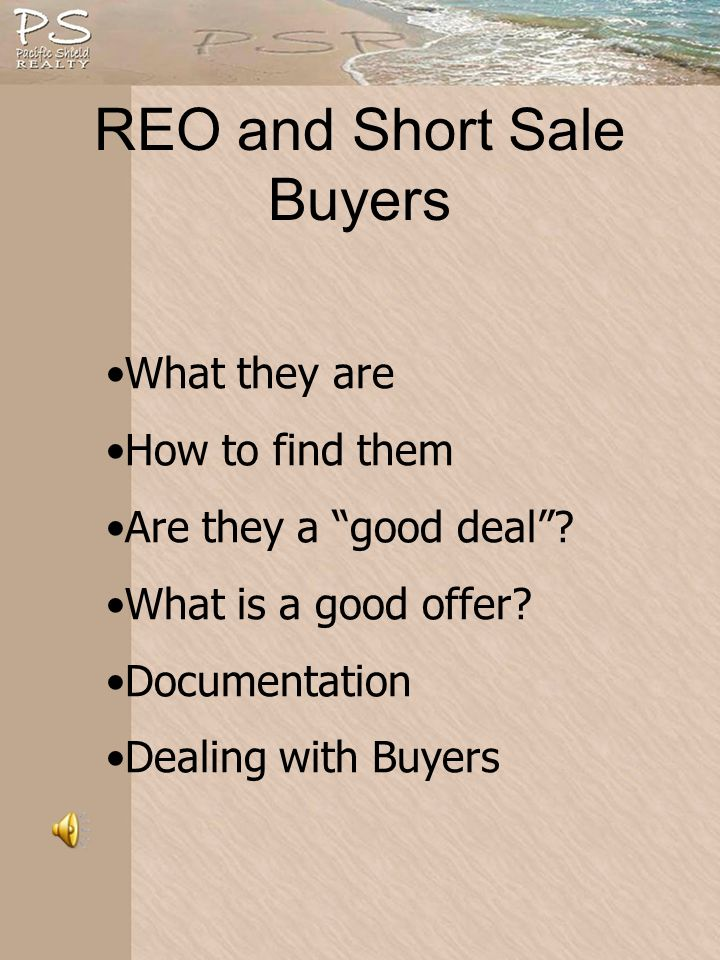 REO and Short Sale Buyers What they are How to find them Are they a good deal.