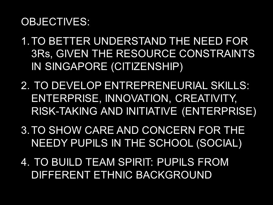 OBJECTIVES: 1.TO BETTER UNDERSTAND THE NEED FOR 3Rs, GIVEN THE RESOURCE CONSTRAINTS IN SINGAPORE (CITIZENSHIP) 2.