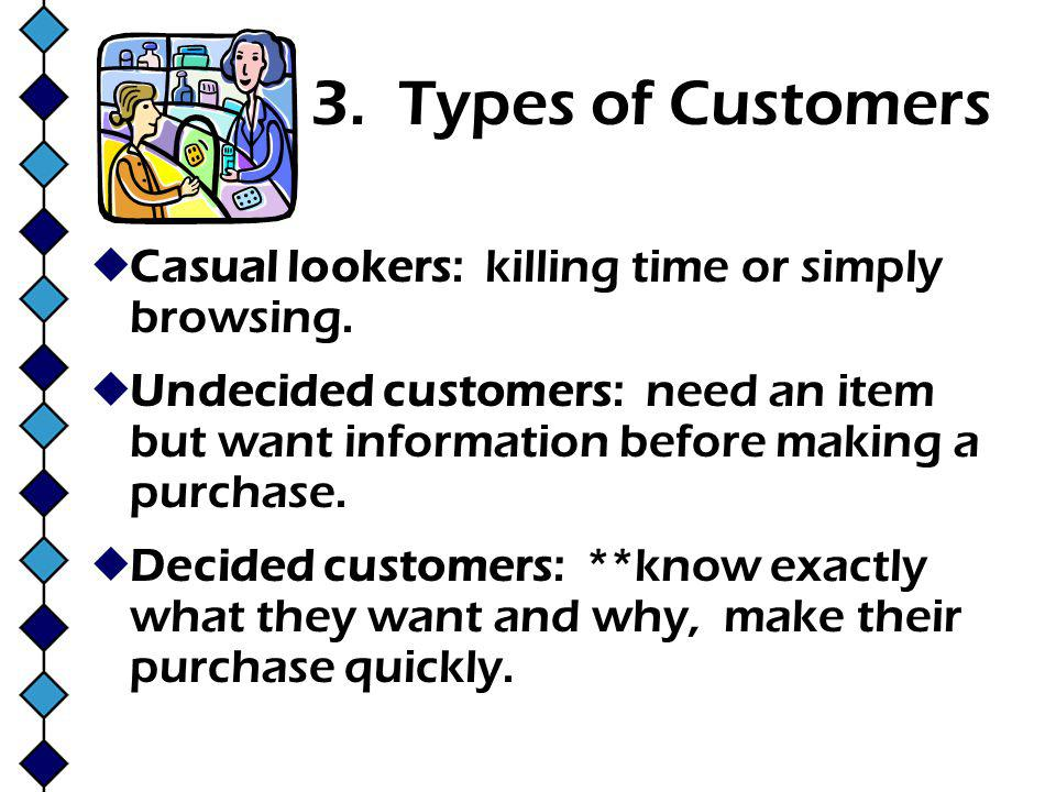 3. Types of Customers Casual lookers: killing time or simply browsing.