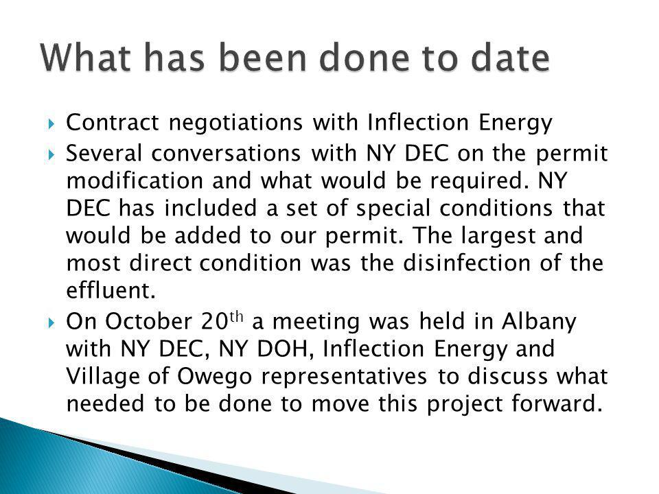Contract negotiations with Inflection Energy Several conversations with NY DEC on the permit modification and what would be required.