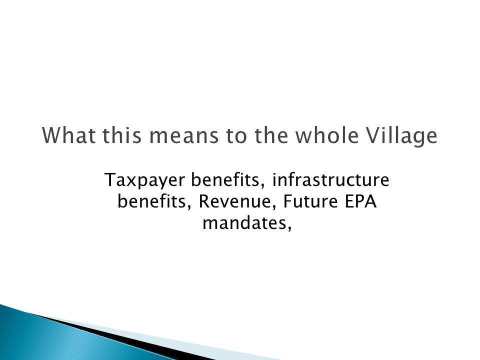 Taxpayer benefits, infrastructure benefits, Revenue, Future EPA mandates,