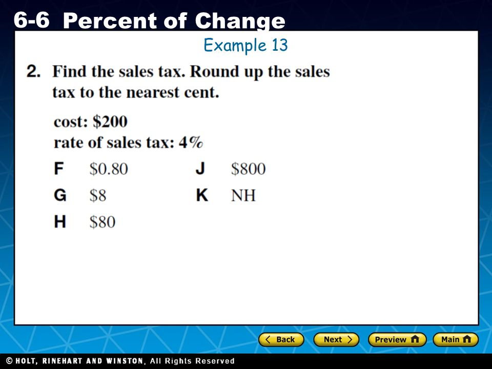 Holt CA Course 1 6-6 Percent of Change Example 13
