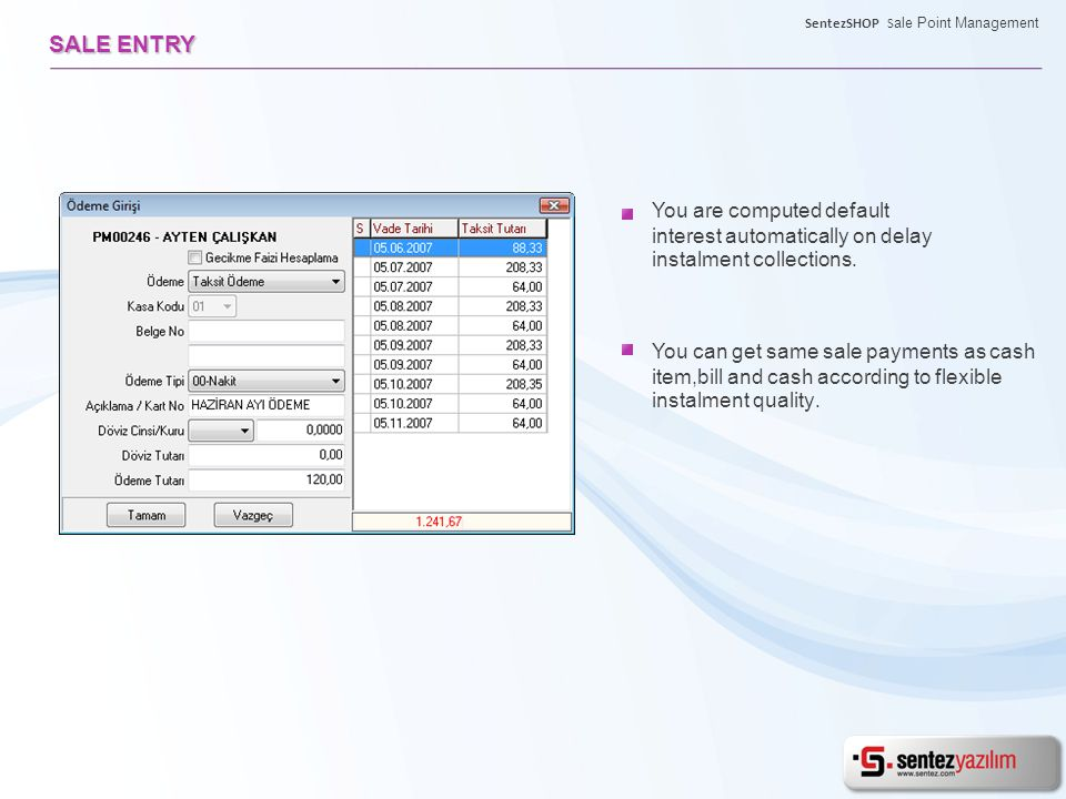 You are computed default interest automatically on delay instalment collections.