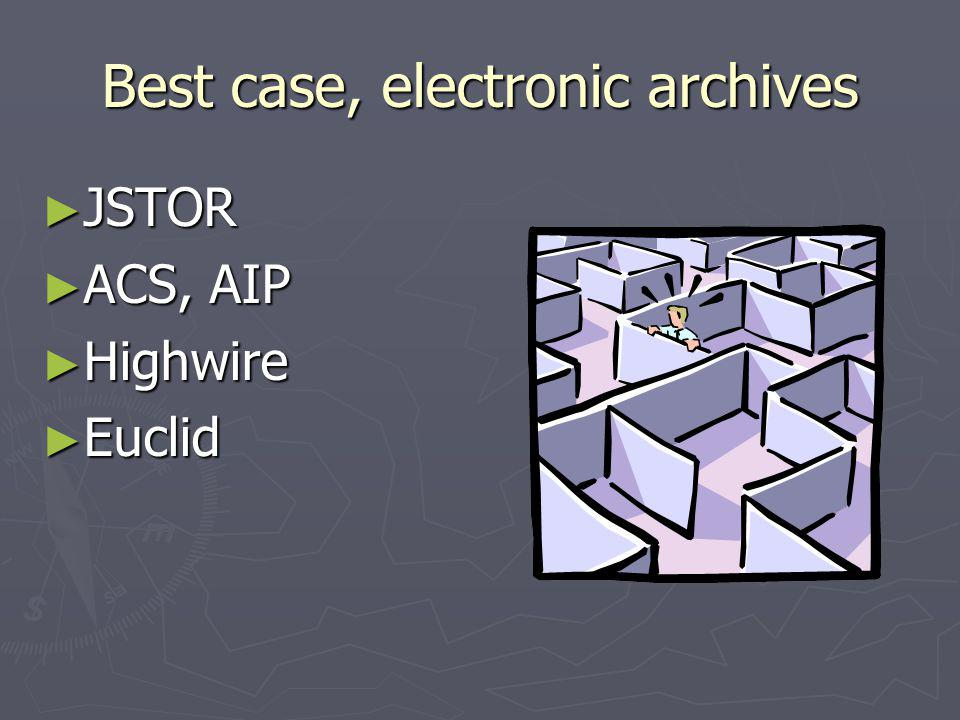 Best case, electronic archives JSTOR JSTOR ACS, AIP ACS, AIP Highwire Highwire Euclid Euclid