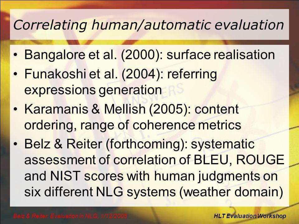 HLT Evaluation WorkshopBelz & Reiter: Evaluation in NLG, 1/12/2005 Correlating human/automatic evaluation Bangalore et al.