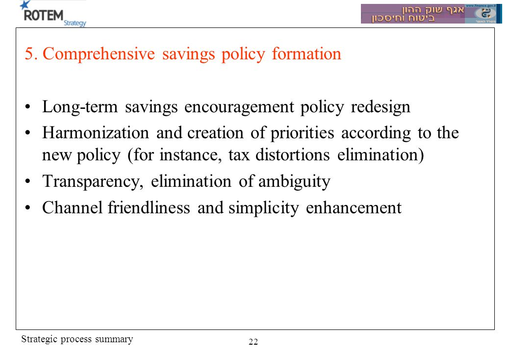 Strategic process summary 22 5. Comprehensive savings policy formation Long-term savings encouragement policy redesign Harmonization and creation of p