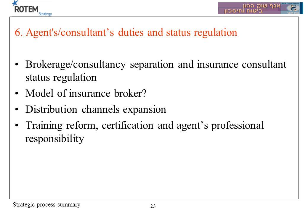 Strategic process summary 23 6. Agent's/consultants duties and status regulation Brokerage/consultancy separation and insurance consultant status regu
