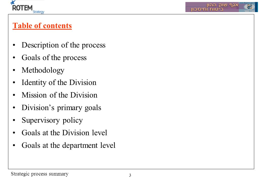 Strategic process summary 3 Table of contents Description of the process Goals of the process Methodology Identity of the Division Mission of the Division Divisions primary goals Supervisory policy Goals at the Division level Goals at the department level