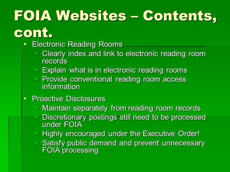 FOIA Websites – Contents, cont.