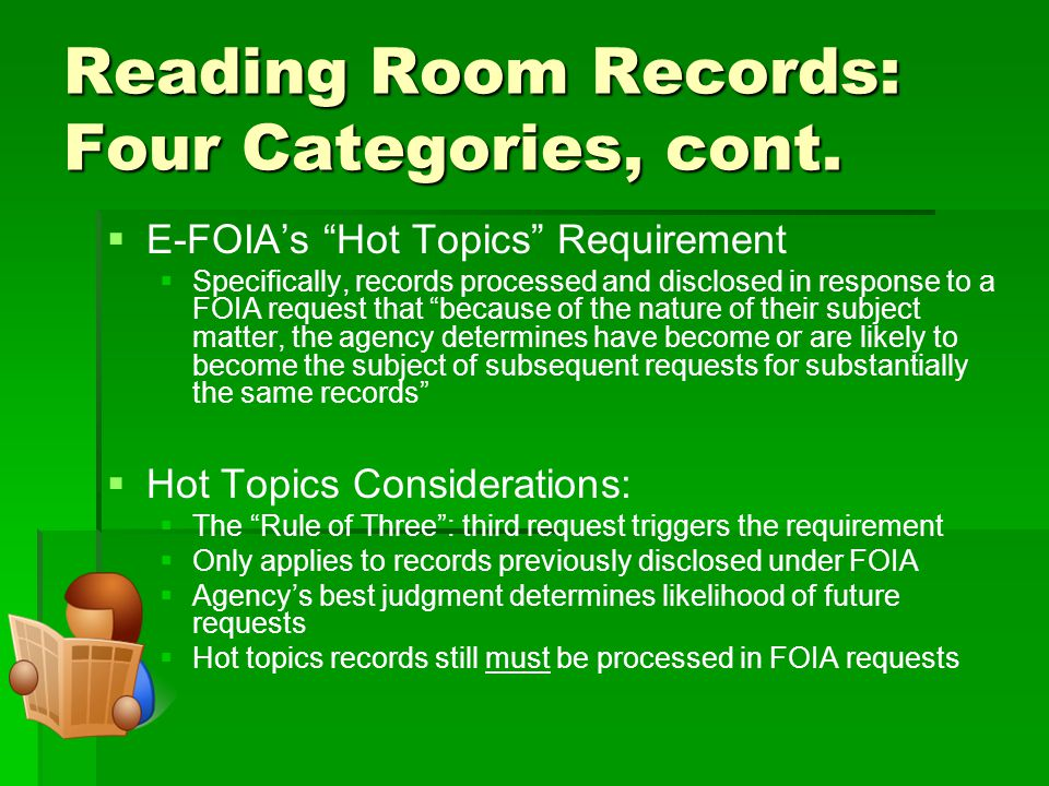 Reading Room Records: Four Categories, cont.