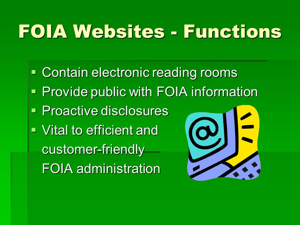 FOIA Websites - Functions Contain electronic reading rooms Contain electronic reading rooms Provide public with FOIA information Provide public with F