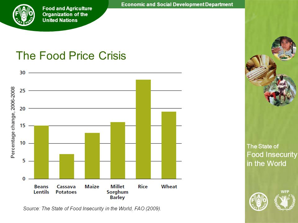 8 The State of Food Insecurity in the World Economic and Social Development Department Food and Agriculture Organization of the United Nations The State of Food Insecurity in the World Global crisis hits developing countries Higher unemployment Lower capital inflows (remittances, aid, FDI) Less export opportunities Few policy options due to global nature of crisis: e.g.