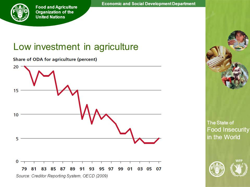 9 The State of Food Insecurity in the World Economic and Social Development Department Food and Agriculture Organization of the United Nations The State of Food Insecurity in the World Low investment in agriculture Source: Creditor Reporting System, OECD (2009)