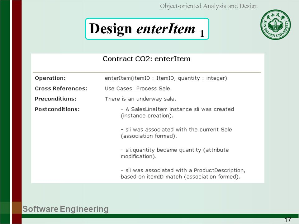 Software Engineering 17 Object-oriented Analysis and Design Design enterItem 1
